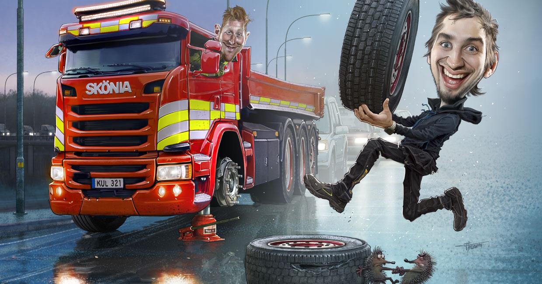 En tecknad bild visar en lastbil i jobbet, som tvingas byta däck. Tälje Däckservice rycker in och utför däckbyte.