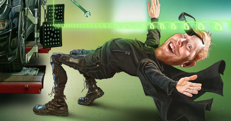 Kampanjbild om hjulinställning på Tälje Däckservice, där Pelle är i verkstaden och lutar sig bakåt som i filmen Matrix, för att inte bli träffad av en skiftnyckel.
